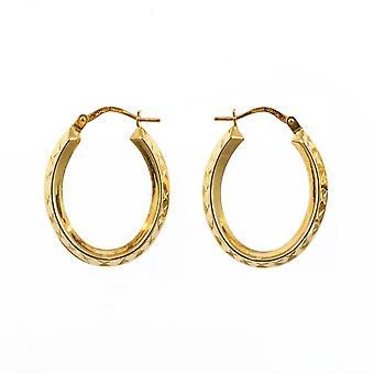 Eternity 9ct Gold Fancy Oval Diamond Cut Créole Hoop Boucles d'oreilles