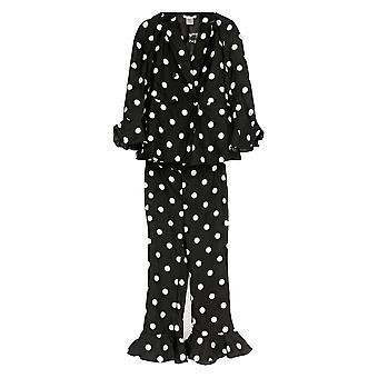 Masseys Women's Long Slvs Jacket & Pants w/ Polkadots 2 Piece Set Black