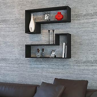 Półka ozy w kolorze czarnym w chipie melaminowym, PVC 83,6x19,5x43,6 cm