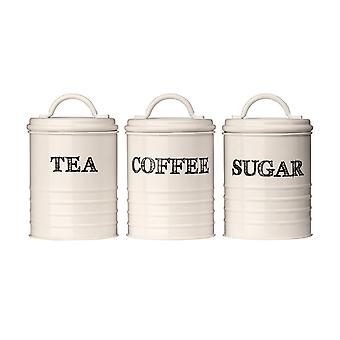 Sketch Cream Set of 3 Tea Coffee Sugar Canisters