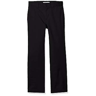 Essentials Boy's Straight Leg Flat Front Uniform Chino Pant, Black, 7(H)