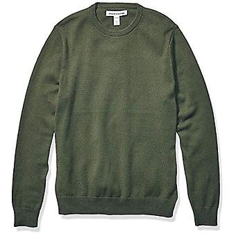 Essentials Men's Crewneck Sweater Sweater, -Olive Space-Dye, Medium