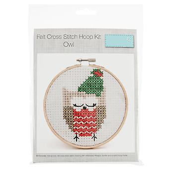 Owl Design Felt Cross Stitch Kit with Hoop