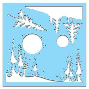 Polkadoodles Weihnachten Landschaft 6 x 6 Zoll Schablone
