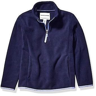 Essentials Girl's Quarter-Zip Polar Fleece Jacket, Navy, X-Large