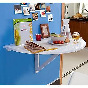SoBuy FWT10-W, Table à feuilles de chute montées sur un mur demi-rond, Bureau de table pliant, Blanc