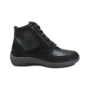 Waldläufer Hensa-Soft 312H82 312 001 Bottes de cheville en cuir noir/textile femme