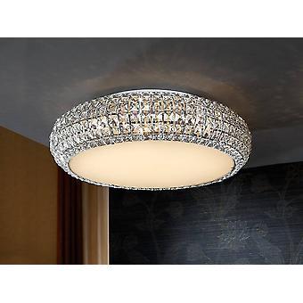 9 Light Crystal Flush Ceiling Light Chrome, G9