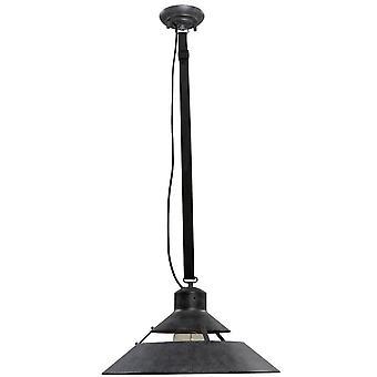 Inspireret Mantra - Industriel - Dome Loft Vedhæng 40W E27 Stor, Oxid Metal, Sort Bælte