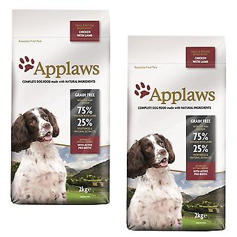 2 x 2kg Applaws Small Medium Dog Dry Food Chicken Lamb Meat Natuurlijke Pet Snack