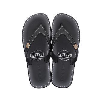Mens Cartago Sandals Dakar Beach Flip Flops - Black
