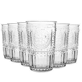 Bormioli Rocco Romantic Ridged Tumbler Glasses Set - 305ml - Pack of 6