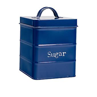 Industrial Sugar Canister - Vintage Style Steel Kitchen Storage Caddy with Lid - Navy