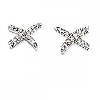 Beginnings Sterling Silver Cubic Zirconia Kiss Earrings E5575C