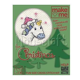 Pretty Unicorn - Make Me for Christmas Small Counted Cross Stitch Kit