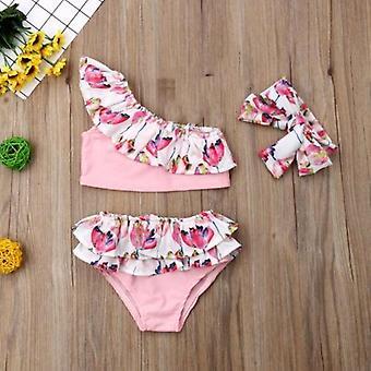Ensemble de bikini de volant de fleur- maillot de bain mignon d'été de Tankini avec le bandeau