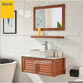 Small Wall-mounted Space Aluminum Cabinet Washroom Ceramics Basin Combination Bathroom Storage