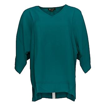 DG2 por Diane Gilman Women's Top Green V-Neck Blouse 727-411