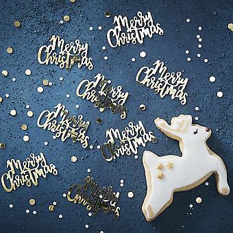 ゴールドスクリプトメリークリスマステーブル紙吹雪 - 14g - ゴールドクリスマステーブル脱オソレーションクリスマス