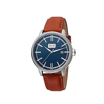 Just Cavalli JC1G018L0035 Mens brown leather strap watch with dark blue dial