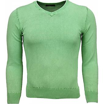 Casual Sweater - V-Neck - Green