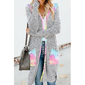 Casual Tie-dye Patchwork Striped Long Cardigan
