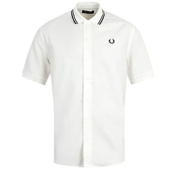 Fred Perry Flat-Knit Collar Snow White Short Sleeve Shirt