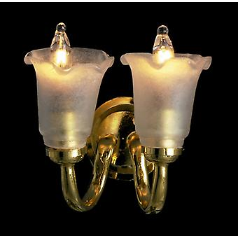 Dolls House Double Wall Light Frosted Tulip Shade Up 12v Electric Sconce