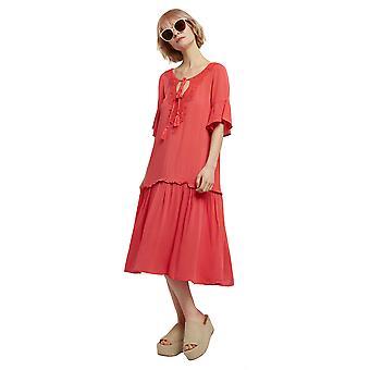 Louche Womens Kamara Embroidered Neckline Dress Red
