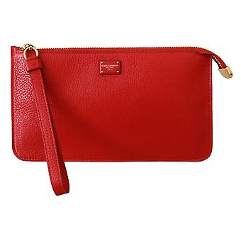 Red Clutch Hand Purse Wristlet Toiletry  Leather Wallet