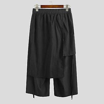 Men Casual Pants, Joggers Elastic, Waist Loose, Irregular Skirt Trousers, Wide