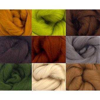 Molten designs merino wool tops - earth tones - pack of 9