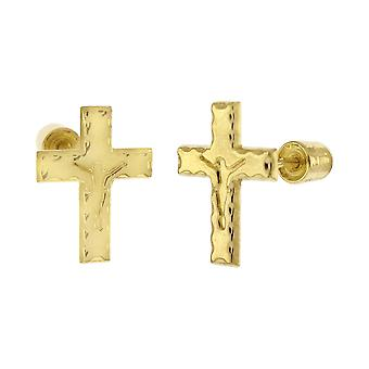 14K Gold Iced Out Stud Stud Stud S &aders - Crucifix Cross
