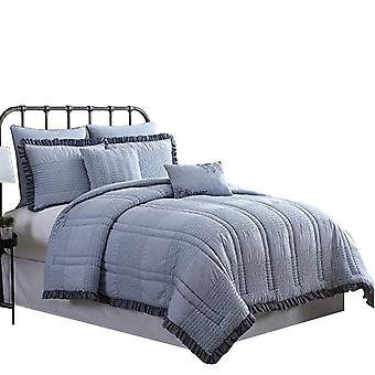 Brno 7 Piece Stitch Details Queen Comforter Set With Ruffle Edges The Urban Port,Blue