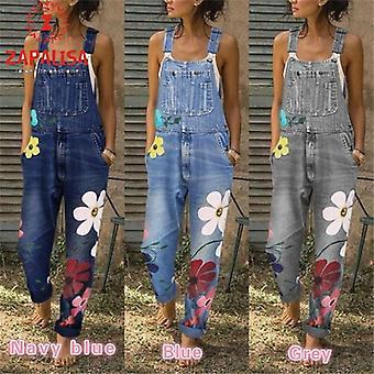 Casual Loose Jumpsuits Patchwork Design Kieszenie Decor Sling Flower Print Denim