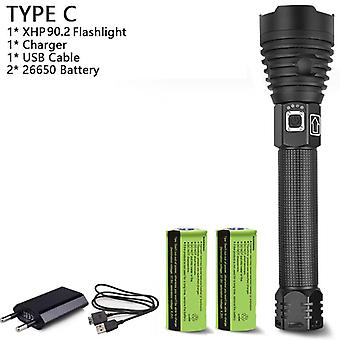 Led Flashlight, Usb Zoom Tactical Torch With Rechargeable Battery