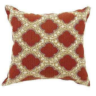 Roxy Contemporain Petit Oreiller avec tissu de modèle, finition rouge, ensemble de 2