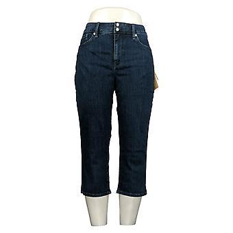 NYDJ Women's Petite Embrace Skinny Crop Jeans /Side Slits Blue A377692