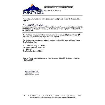 Portwest - Pack of 10 FFP3 Adjustable Valved Respirators White Regular