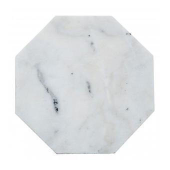 Hvit åttekantet marmor trivet 18x18 CM