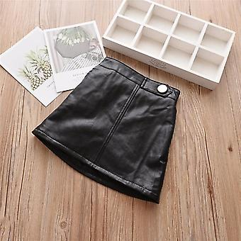 Pu Leather Clothing Button Design Skirt