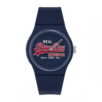 Montre Superdry SYG280UR - Urban Original Boitier rond en plastique bleu Cadran bleu Bracelet en silicone bleu Homme/Femme