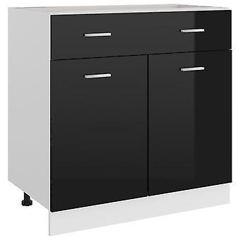 Drawer Bottom Cabinet High Gloss Black 80x46x81.5 Cm Chipboard