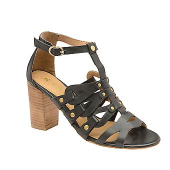 Ravel Jackson Leather Heeled Sandals  - Black