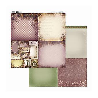 Couture Creations - Gingham Pansies 12x12 tum Dubbelsidiga förpackningar med 10 ark