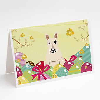بيض عيد الفصح الثور الكلب الأبيض بطاقات المعايدة وحزمة مغلفات من 8