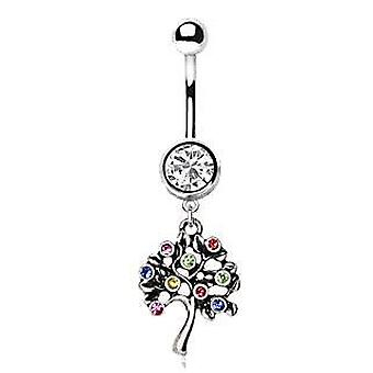 Stainless Steel Fruiting Tree Of Life Dangle Navel Ring