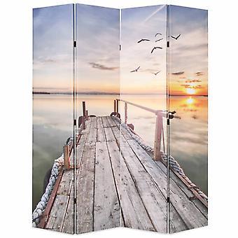 vidaXL部屋の分周器は桟橋が付いている折り畳み可能な160 x 170 cmの湖