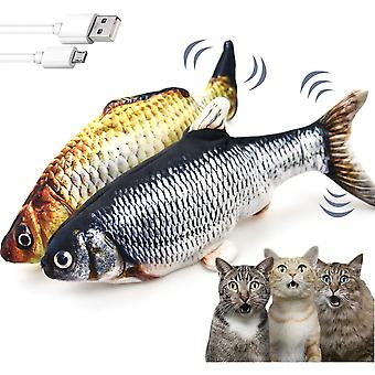 2 Pack Flopping Fish Cat Toys For Indoor, Electric Moving Fish