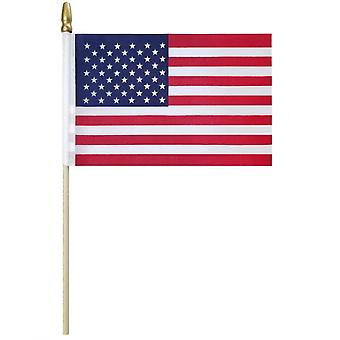 10Pcs hand held american flags wooden stick us national day 5x8 inch